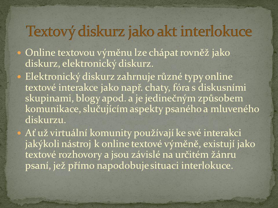 Online textovou výměnu lze chápat rovněž jako diskurz, elektronický diskurz. Elektronický diskurz zahrnuje různé typy online textové interakce jako na