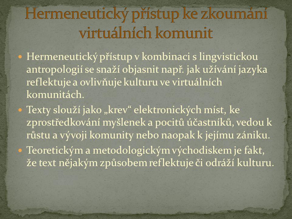 Hermeneutický přístup v kombinaci s lingvistickou antropologií se snaží objasnit např. jak užívání jazyka reflektuje a ovlivňuje kulturu ve virtuálníc