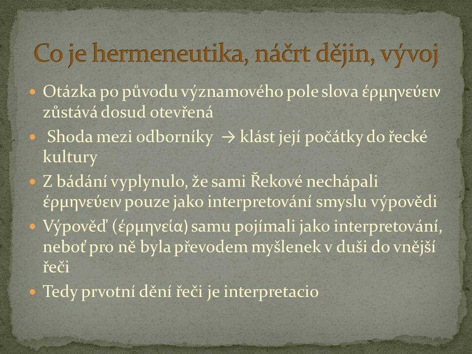 Otázka po původu významového pole slova έρμηνεύειν zůstává dosud otevřená Shoda mezi odborníky → klást její počátky do řecké kultury Z bádání vyplynul