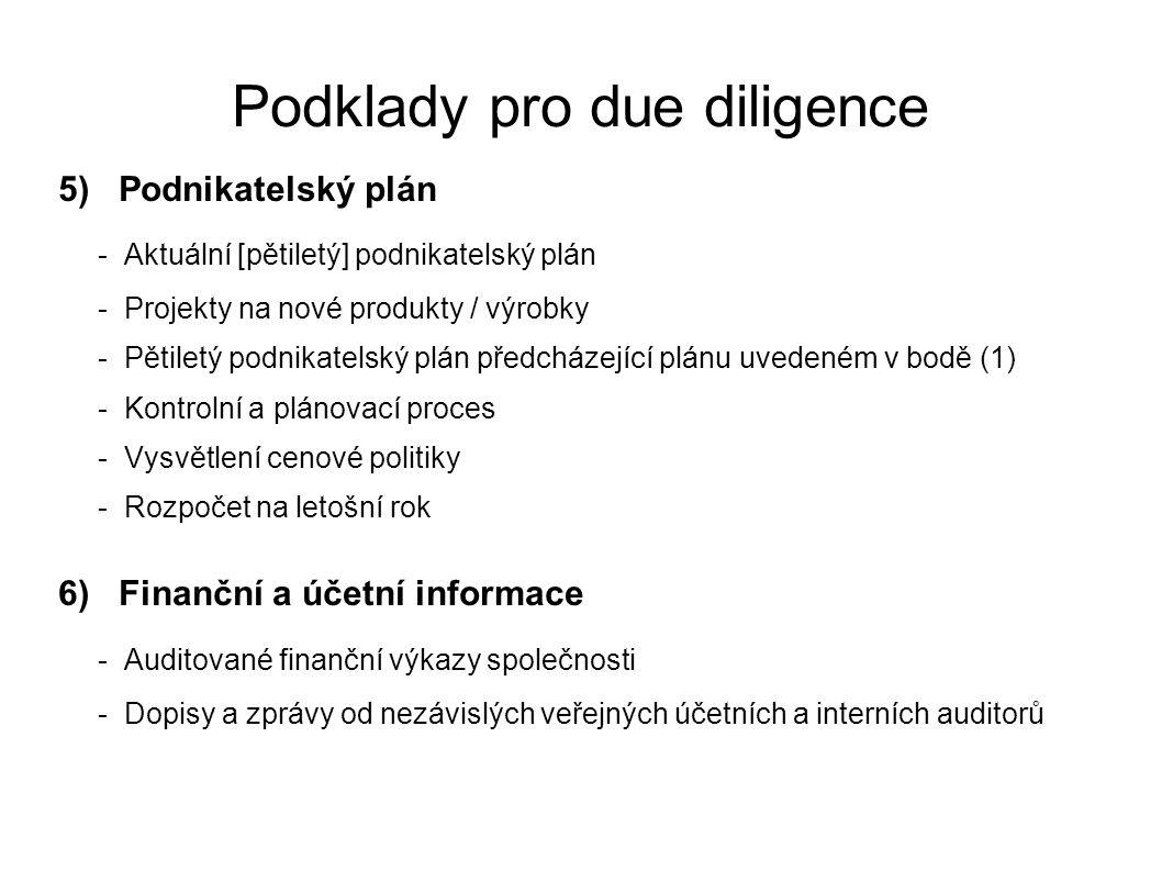 Podklady pro due diligence 5) Podnikatelský plán - Aktuální [pětiletý] podnikatelský plán - Projekty na nové produkty / výrobky - Pětiletý podnikatels