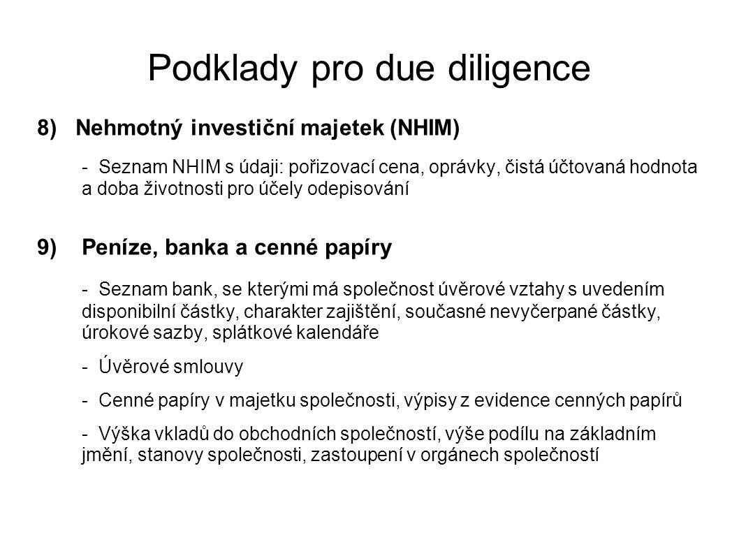 Podklady pro due diligence 8) Nehmotný investiční majetek (NHIM) - Seznam NHIM s údaji: pořizovací cena, oprávky, čistá účtovaná hodnota a doba životn