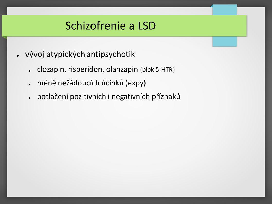 Schizofrenie a LSD ● vývoj atypických antipsychotik ● clozapin, risperidon, olanzapin (blok 5-HTR) ● méně nežádoucích účinků (expy) ● potlačení poziti