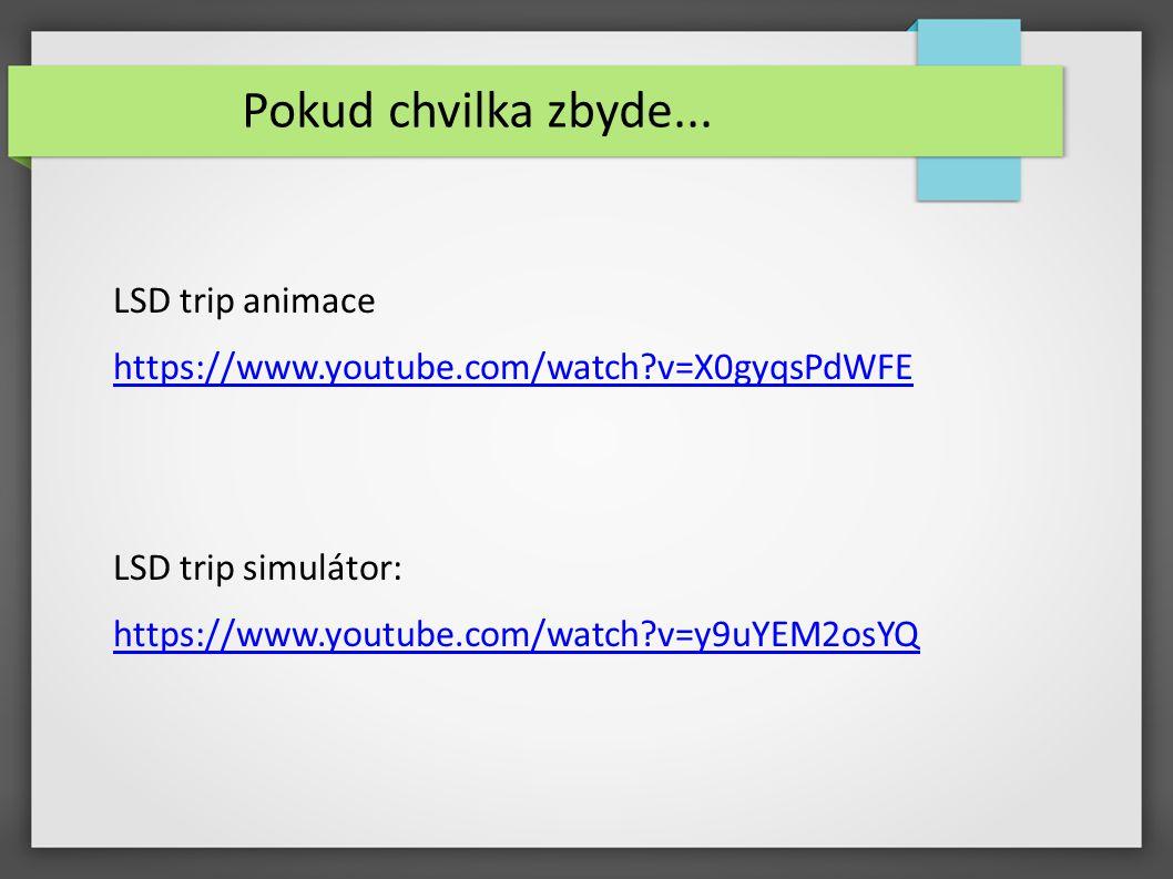Pokud chvilka zbyde... LSD trip animace https://www.youtube.com/watch?v=X0gyqsPdWFE LSD trip simulátor: https://www.youtube.com/watch?v=y9uYEM2osYQ