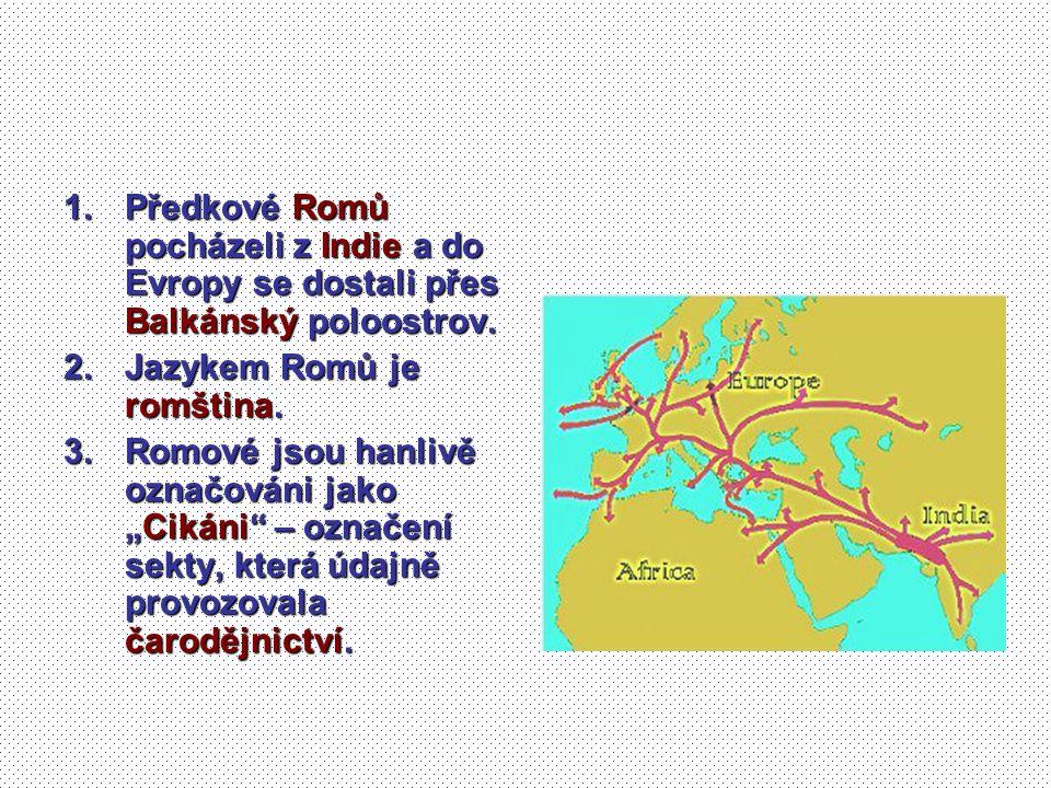 1.Předkové Romů pocházeli z Indie a do Evropy se dostali přes Balkánský poloostrov. 2.Jazykem Romů je romština. 3.Romové jsou hanlivě označováni jako