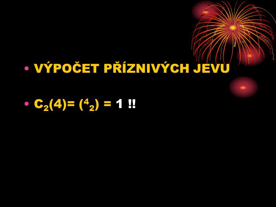 VÝPOČET PŘÍZNIVÝCH JEVU C 2 (4)= ( 4 2 ) = 1 !!