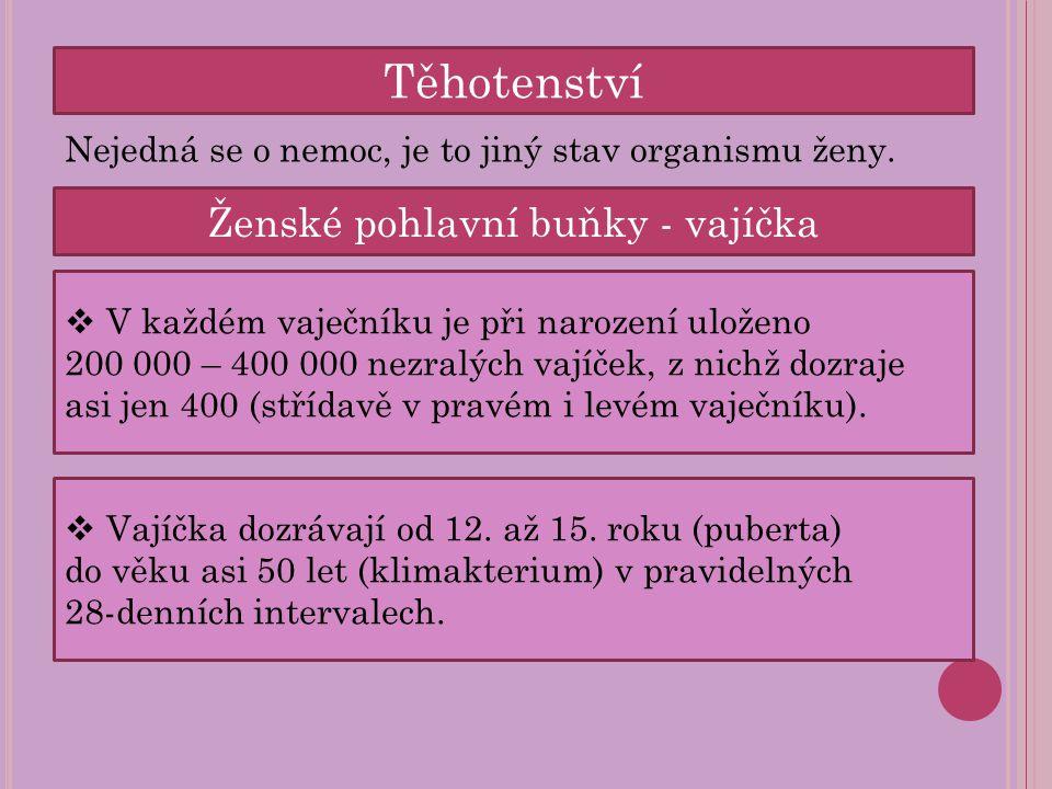 Těhotenství Nejedná se o nemoc, je to jiný stav organismu ženy. Ženské pohlavní buňky - vajíčka  V každém vaječníku je při narození uloženo 200 000 –
