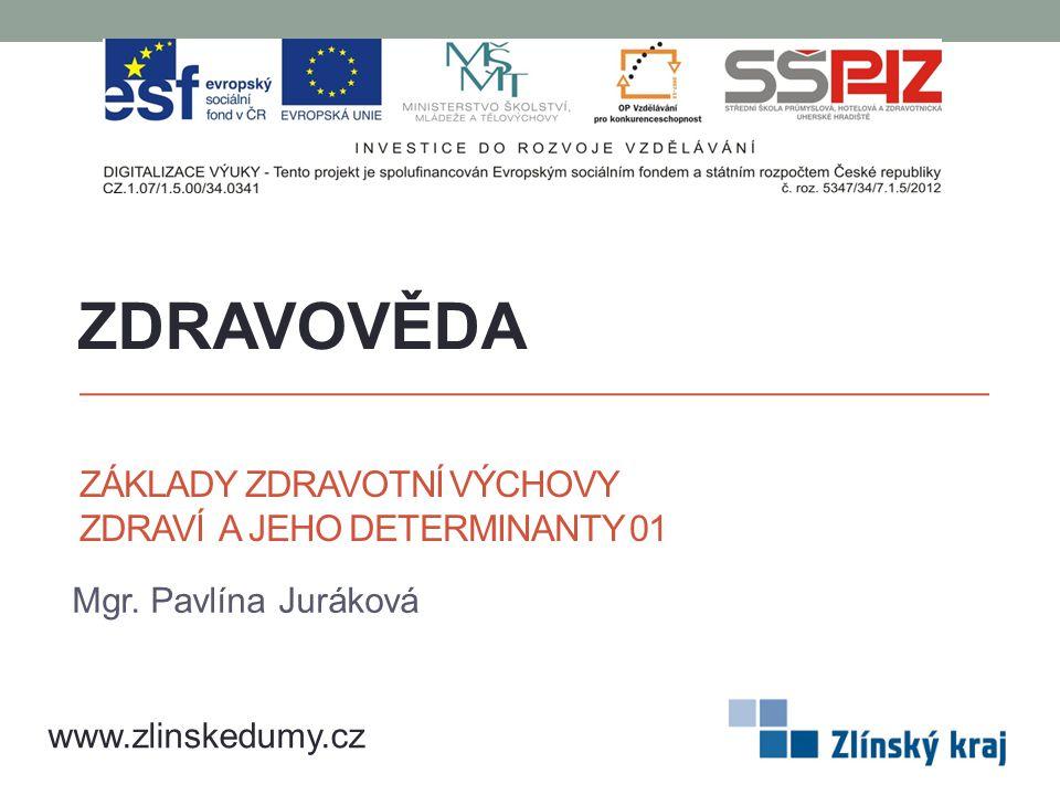 ZÁKLADY ZDRAVOTNÍ VÝCHOVY ZDRAVÍ A JEHO DETERMINANTY 01 Mgr. Pavlína Juráková ZDRAVOVĚDA www.zlinskedumy.cz