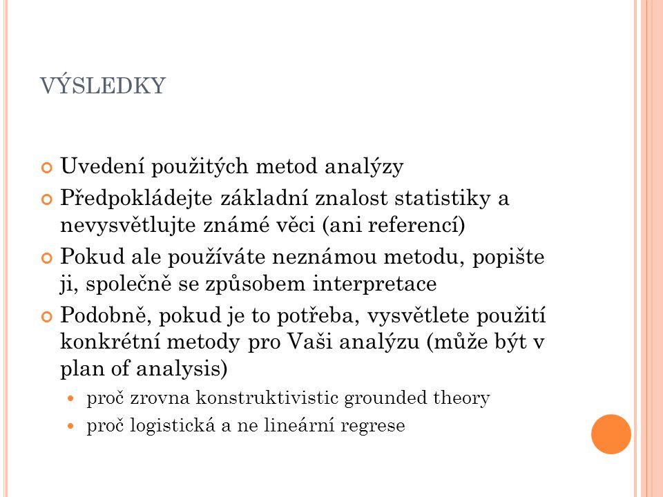 VÝSLEDKY Uvedení použitých metod analýzy Předpokládejte základní znalost statistiky a nevysvětlujte známé věci (ani referencí) Pokud ale používáte neznámou metodu, popište ji, společně se způsobem interpretace Podobně, pokud je to potřeba, vysvětlete použití konkrétní metody pro Vaši analýzu (může být v plan of analysis) proč zrovna konstruktivistic grounded theory proč logistická a ne lineární regrese