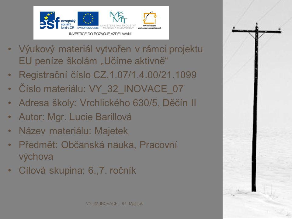 """Výukový materiál vytvořen v rámci projektu EU peníze školám """"Učíme aktivně"""" Registrační číslo CZ.1.07/1.4.00/21.1099 Číslo materiálu: VY_32_INOVACE_07"""