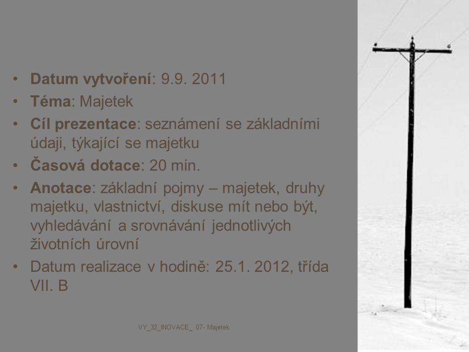 Datum vytvoření: 9.9. 2011 Téma: Majetek Cíl prezentace: seznámení se základními údaji, týkající se majetku Časová dotace: 20 min. Anotace: základní p