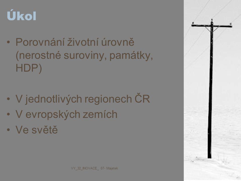 Úkol Porovnání životní úrovně (nerostné suroviny, památky, HDP) V jednotlivých regionech ČR V evropských zemích Ve světě VY_32_INOVACE_ 07- Majetek