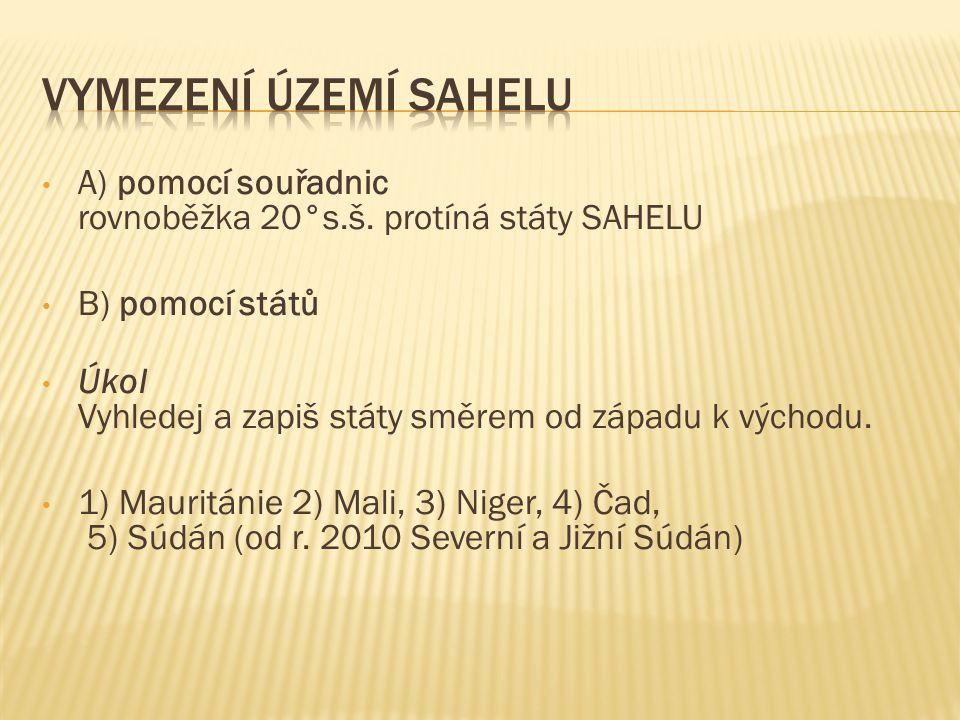 A) pomocí souřadnic rovnoběžka 20°s.š. protíná státy SAHELU B) pomocí států Úkol Vyhledej a zapiš státy směrem od západu k východu. 1) Mauritánie 2) M