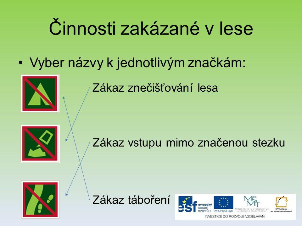 Činnosti zakázané v lese Vyber názvy k jednotlivým značkám: Zákaz táboření Zákaz vstupu mimo značenou stezku Zákaz znečišťování lesa