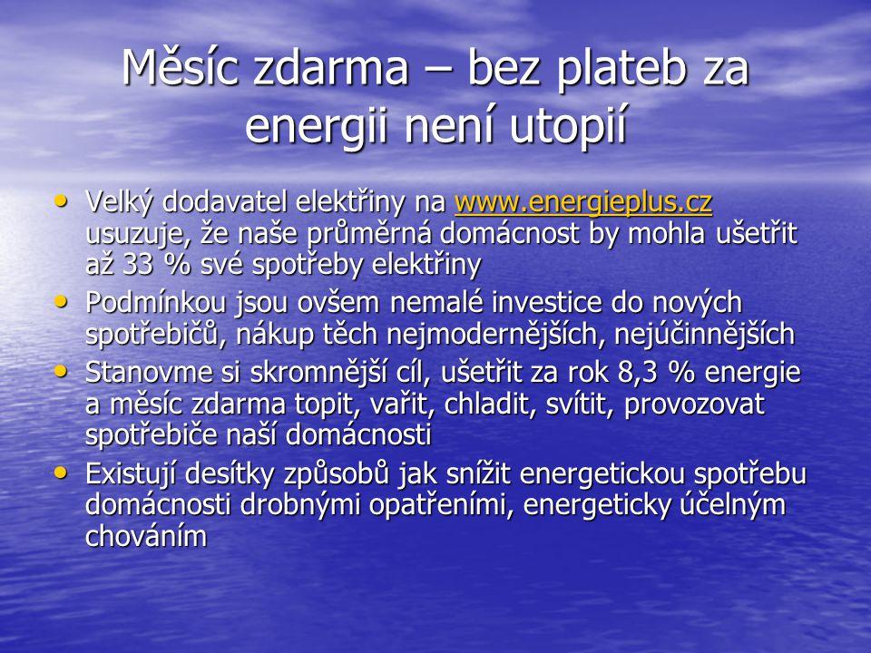 Měsíc zdarma – bez plateb za energii není utopií Velký dodavatel elektřiny na www.energieplus.cz usuzuje, že naše průměrná domácnost by mohla ušetřit až 33 % své spotřeby elektřiny Velký dodavatel elektřiny na www.energieplus.cz usuzuje, že naše průměrná domácnost by mohla ušetřit až 33 % své spotřeby elektřinywww.energieplus.cz Podmínkou jsou ovšem nemalé investice do nových spotřebičů, nákup těch nejmodernějších, nejúčinnějších Podmínkou jsou ovšem nemalé investice do nových spotřebičů, nákup těch nejmodernějších, nejúčinnějších Stanovme si skromnější cíl, ušetřit za rok 8,3 % energie a měsíc zdarma topit, vařit, chladit, svítit, provozovat spotřebiče naší domácnosti Stanovme si skromnější cíl, ušetřit za rok 8,3 % energie a měsíc zdarma topit, vařit, chladit, svítit, provozovat spotřebiče naší domácnosti Existují desítky způsobů jak snížit energetickou spotřebu domácnosti drobnými opatřeními, energeticky účelným chováním Existují desítky způsobů jak snížit energetickou spotřebu domácnosti drobnými opatřeními, energeticky účelným chováním