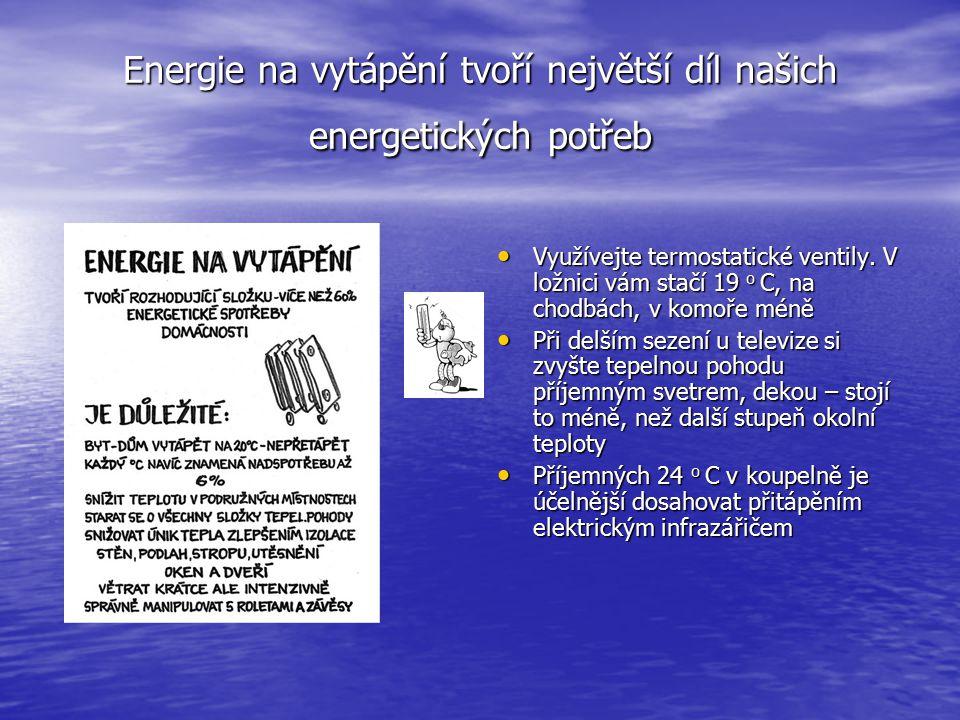 Příprava teplé užitkové vody je hned na druhém místě Na vanovou koupel spotřebujeme až 130 l vody, při sprchování vystačíme se 30 - 40 l Na vanovou koupel spotřebujeme až 130 l vody, při sprchování vystačíme se 30 - 40 l Na boileru nenastavujte teplotu výše než 45-55 o C, snížíte tepelné ztráty Na boileru nenastavujte teplotu výše než 45-55 o C, snížíte tepelné ztráty Úspornější jsou baterie pákové, než klasické, odpadá zdlouhavá manipulace při nastavování teploty Úspornější jsou baterie pákové, než klasické, odpadá zdlouhavá manipulace při nastavování teploty Menší investice, použití perlátoru ušetří nemálo vody Menší investice, použití perlátoru ušetří nemálo vody Šetříme i studenou vodou, dvoucestný splachovač je investice, která se rozhodně vyplatí Šetříme i studenou vodou, dvoucestný splachovač je investice, která se rozhodně vyplatí