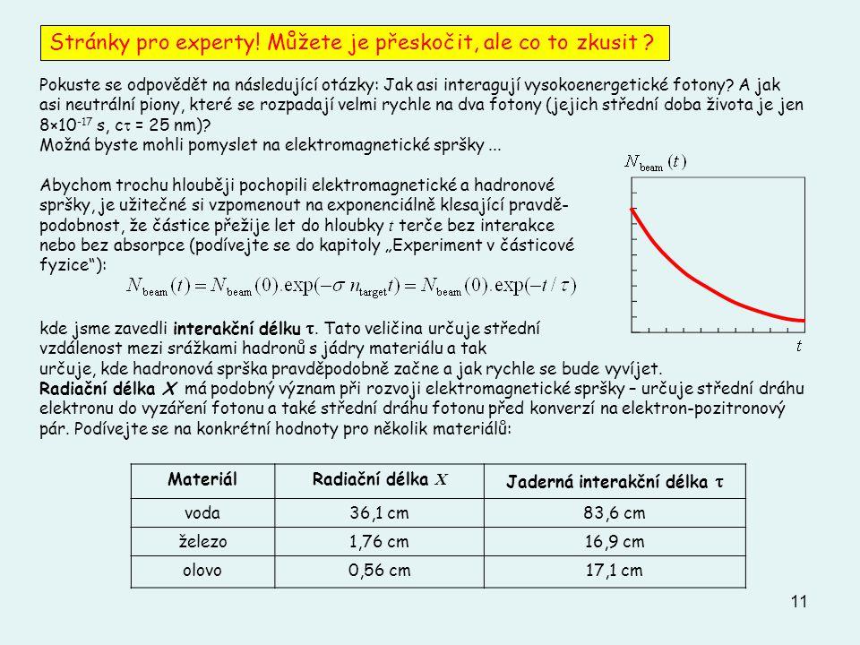 11 Pokuste se odpovědět na následující otázky: Jak asi interagují vysokoenergetické fotony.