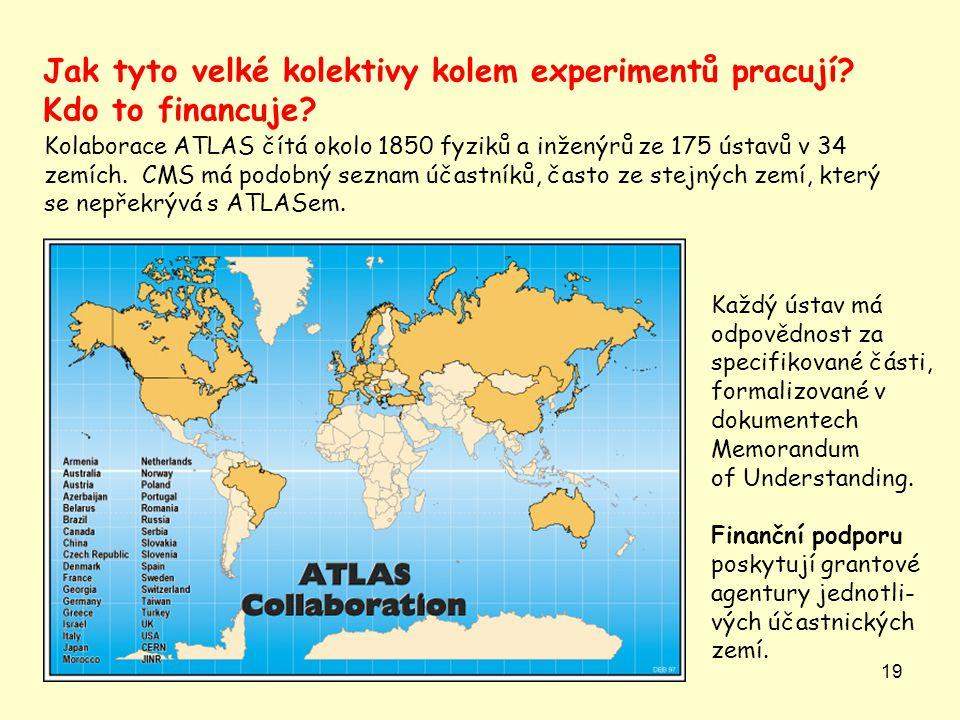 19 Jak tyto velké kolektivy kolem experimentů pracují? Kdo to financuje? Kolaborace ATLAS čítá okolo 1850 fyziků a inženýrů ze 175 ústavů v 34 zemích.