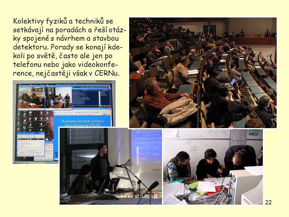 22 Kolektivy fyziků a techniků se setkávají na poradách a řeší otáz- ky spojené s návrhem a stavbou detektoru. Porady se konají kde- koli po světě, ča