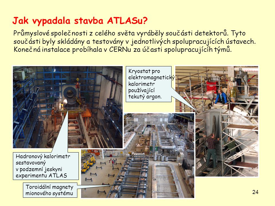 24 Průmyslové společnosti z celého světa vyráběly součásti detektorů.