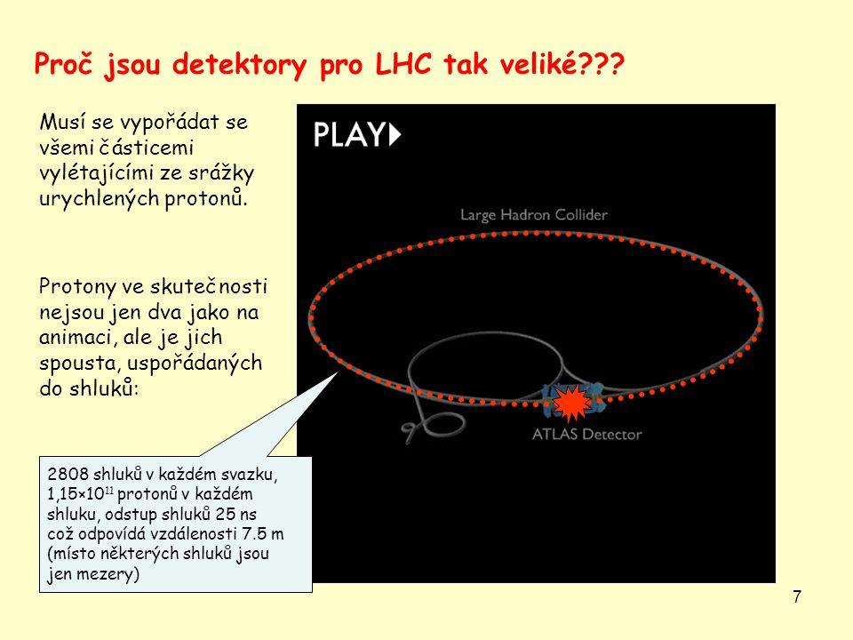 7 Musí se vypořádat se všemi částicemi vylétajícími ze srážky urychlených protonů. Proč jsou detektory pro LHC tak veliké??? Protony ve skutečnosti ne