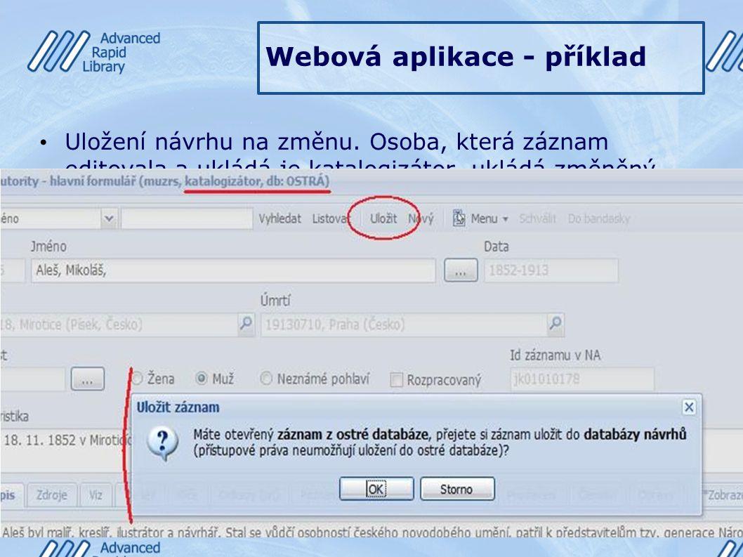 Webová aplikace - příklad Uložení návrhu na změnu. Osoba, která záznam editovala a ukládá je katalogizátor, ukládá změněný záznam jako návrh a postupu