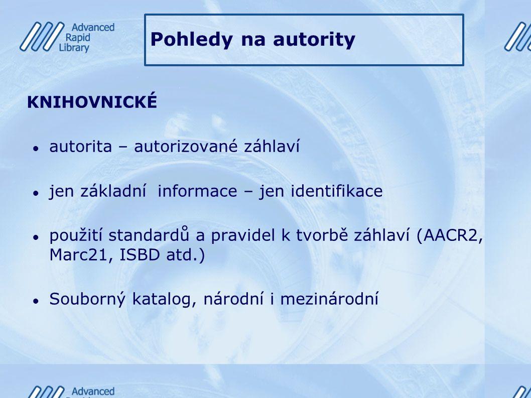 Pohledy na autority KNIHOVNICKÉ ● autorita – autorizované záhlaví ● jen základní informace – jen identifikace ● použití standardů a pravidel k tvorbě