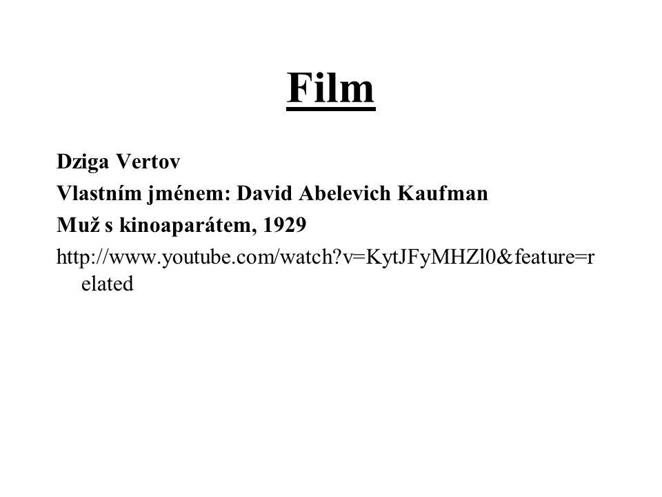 Film Dziga Vertov Vlastním jménem: David Abelevich Kaufman Muž s kinoaparátem, 1929 http://www.youtube.com/watch?v=KytJFyMHZl0&feature=r elated