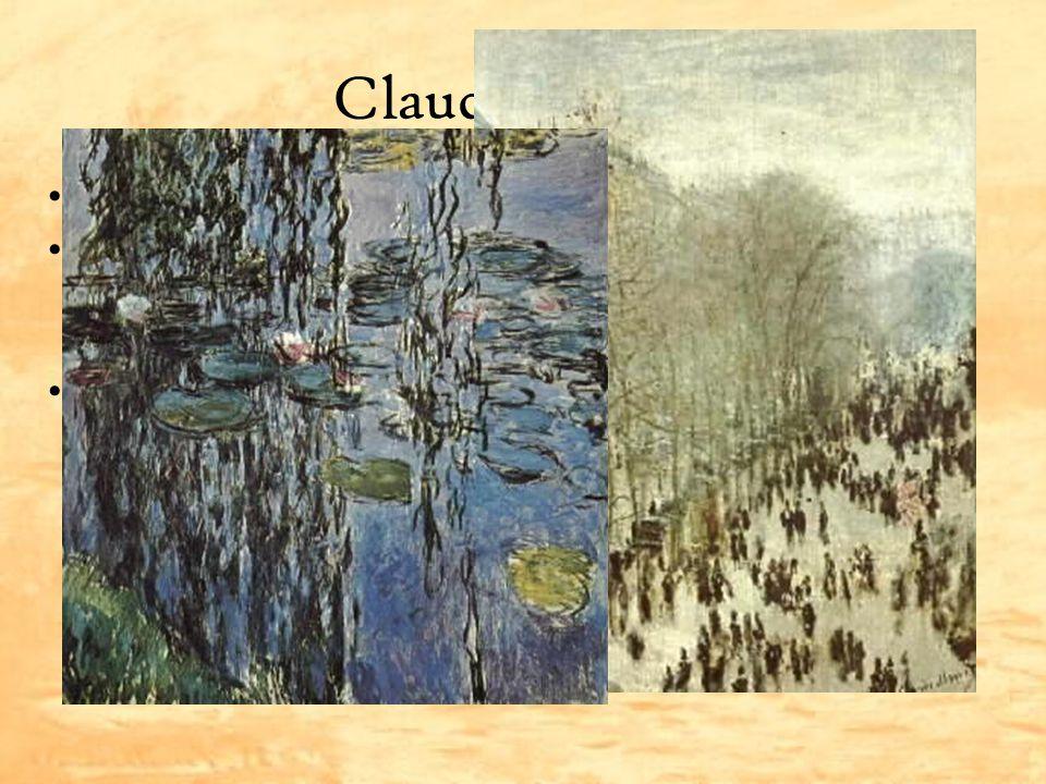 Claude Monet Zakladatel impresionismu Zajímal se o sluneční světlo, atmosféru a vzduch v krajině Proslul svými cykly – stohů sena, leknínů, katedrál,