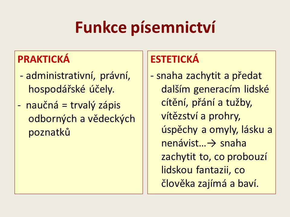 Funkce písemnictví PRAKTICKÁ - administrativní, právní, hospodářské účely. - naučná = trvalý zápis odborných a vědeckých poznatků ESTETICKÁ - snaha za