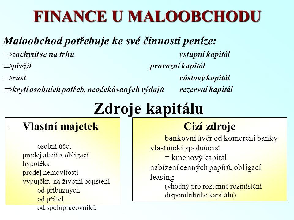 FINANCE U MALOOBCHODU Maloobchod potřebuje ke své činnosti peníze:  zachytit se na trhuvstupní kapitál  přežítprovozní kapitál  růstrůstový kapitál