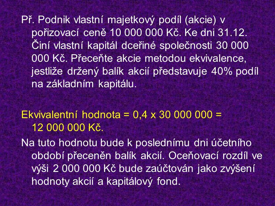 Př.Podnik vlastní majetkový podíl (akcie) v pořizovací ceně 10 000 000 Kč.