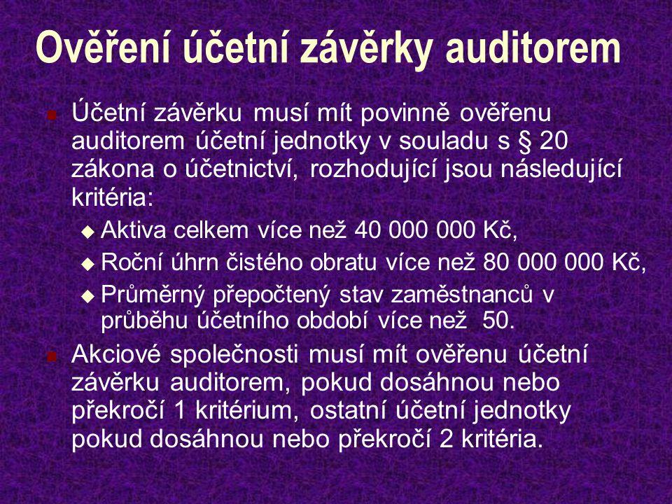 Ověření účetní závěrky auditorem Účetní závěrku musí mít povinně ověřenu auditorem účetní jednotky v souladu s § 20 zákona o účetnictví, rozhodující jsou následující kritéria:  Aktiva celkem více než 40 000 000 Kč,  Roční úhrn čistého obratu více než 80 000 000 Kč,  Průměrný přepočtený stav zaměstnanců v průběhu účetního období více než 50.