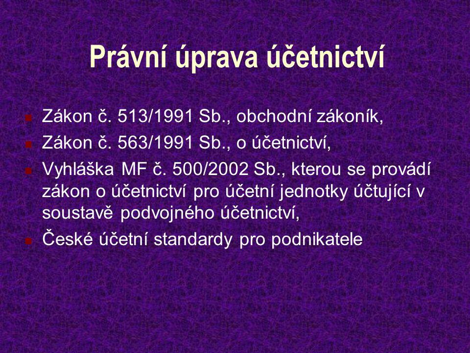 Právní úprava účetnictví Zákon č. 513/1991 Sb., obchodní zákoník, Zákon č. 563/1991 Sb., o účetnictví, Vyhláška MF č. 500/2002 Sb., kterou se provádí