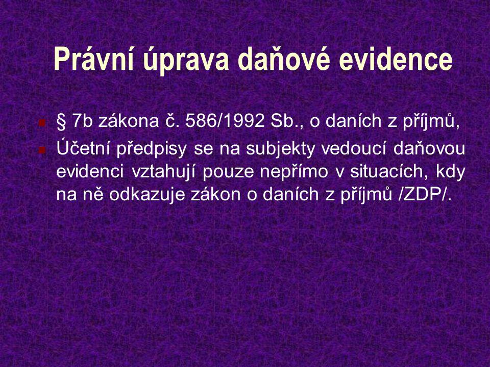 Právní úprava daňové evidence § 7b zákona č.