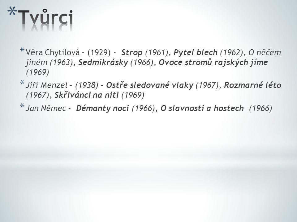 * Jaroslav Papoušek - Ecce homo Homolka (1969) * Drahomíra Vihanová – Zabitá neděle (1969) * Pavel Juráček - Postava k podpírání (1963), Případ pro začínajícího kata (1969) * Juraj Jakubisko – Zbehovia a pútníci (1968), Kristove roky (1967), Vtáčikovia, siroty a blázni (1969) * Evald Schorm – Každý den odvahu (1964), Návrat ztraceného syna (1966)