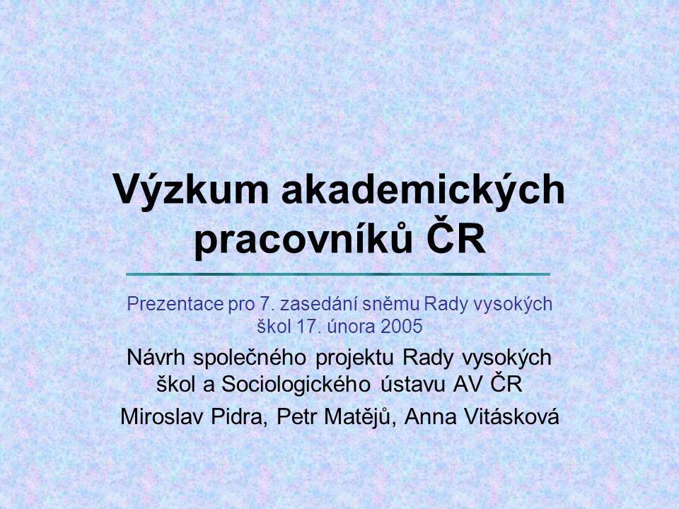 Výzkum akademických pracovníků ČR Prezentace pro 7.