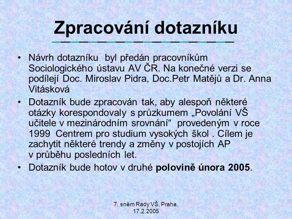 7. sněm Rady VŠ, Praha, 17.2.2005 Zpracování dotazníku Návrh dotazníku byl předán pracovníkům Sociologického ústavu AV ČR. Na konečné verzi se podílej