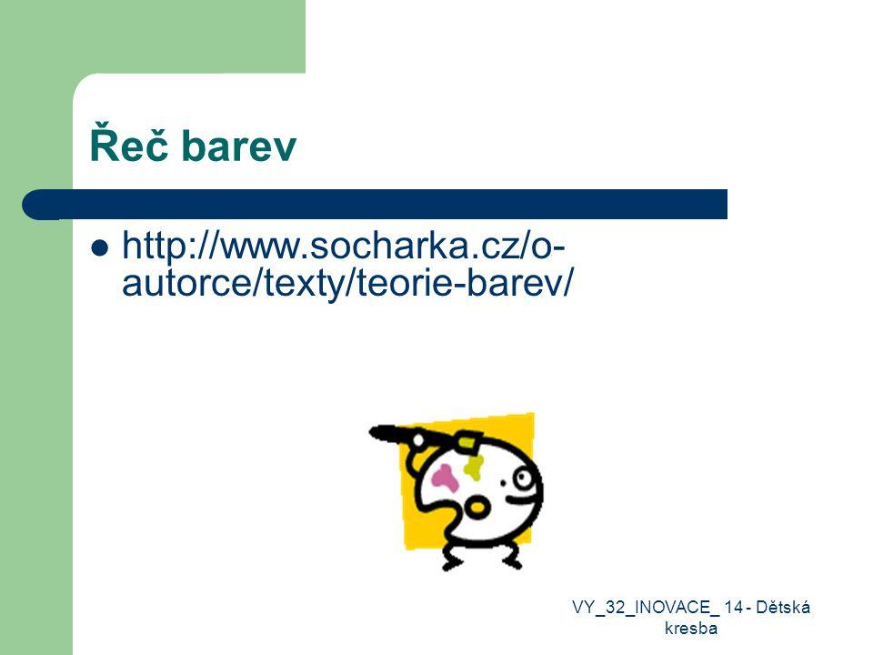 Řeč barev http://www.socharka.cz/o- autorce/texty/teorie-barev/ VY_32_INOVACE_ 14 - Dětská kresba