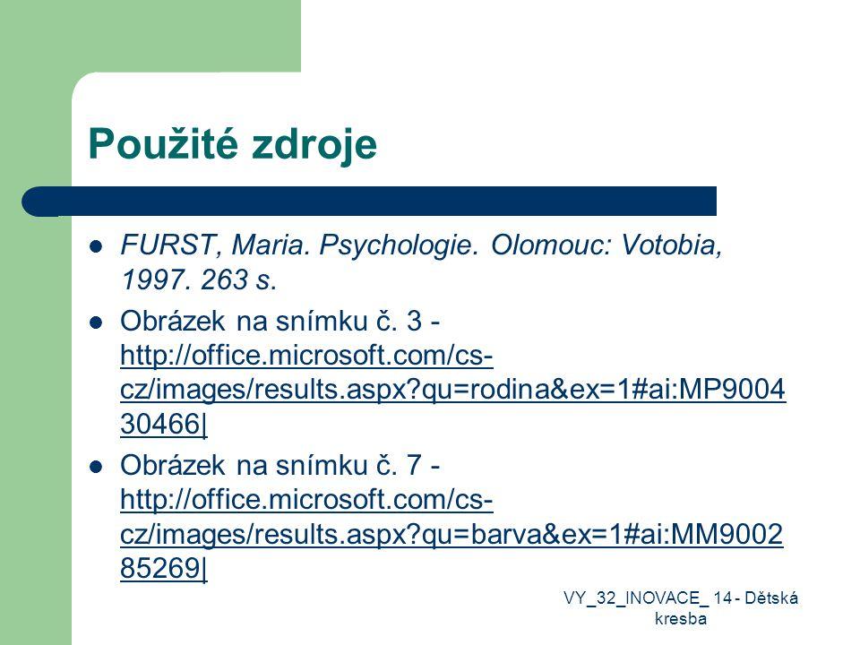 Použité zdroje FURST, Maria. Psychologie. Olomouc: Votobia, 1997.