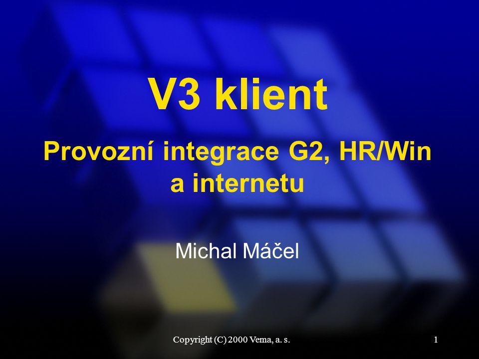 Copyright (C) 2000 Vema, a. s.1 V3 klient Michal Máčel Provozní integrace G2, HR/Win a internetu