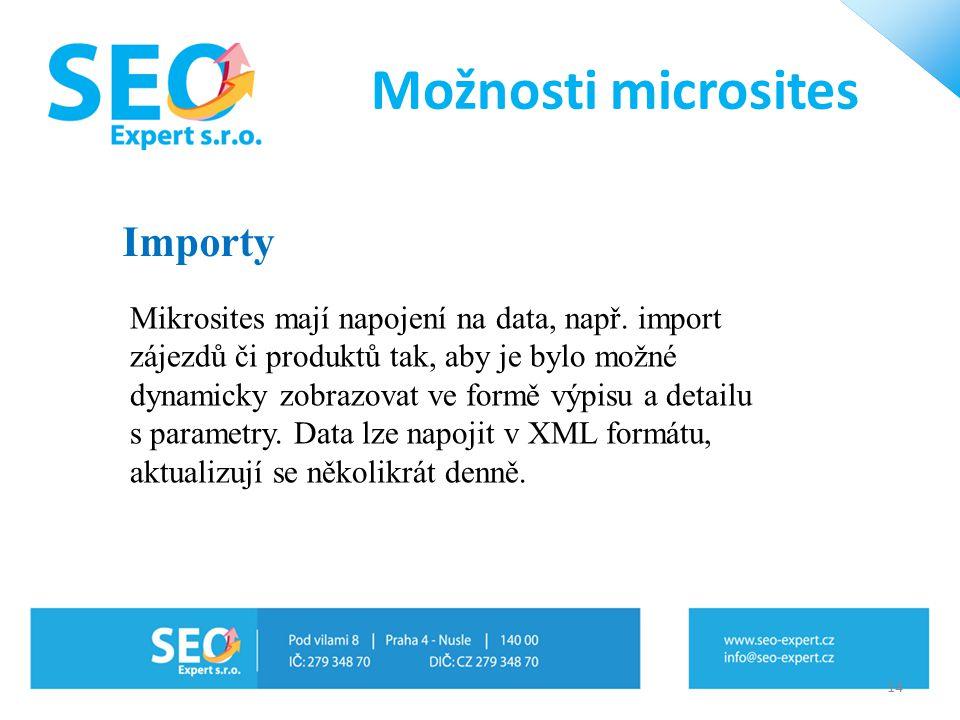 14 Mikrosites mají napojení na data, např. import zájezdů či produktů tak, aby je bylo možné dynamicky zobrazovat ve formě výpisu a detailu s parametr