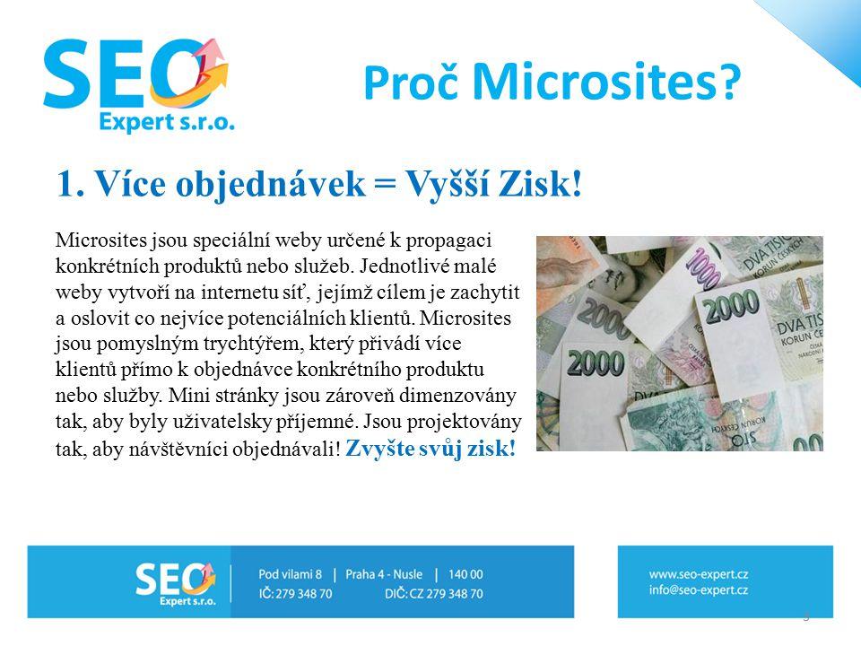 1. Více objednávek = Vyšší Zisk! Microsites jsou speciální weby určené k propagaci konkrétních produktů nebo služeb. Jednotlivé malé weby vytvoří na i