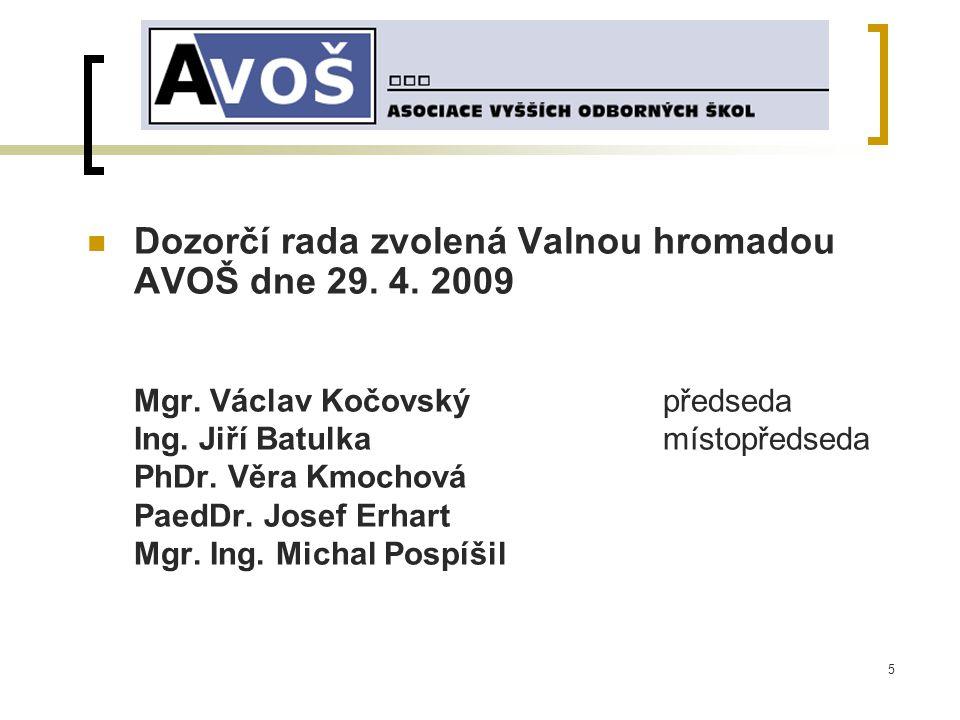5 Dozorčí rada zvolená Valnou hromadou AVOŠ dne 29.