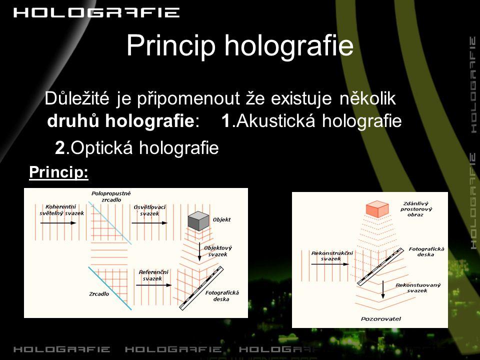 Princip holografie Důležité je připomenout že existuje několik druhů holografie: 1.Akustická holografie 2.Optická holografie Princip:
