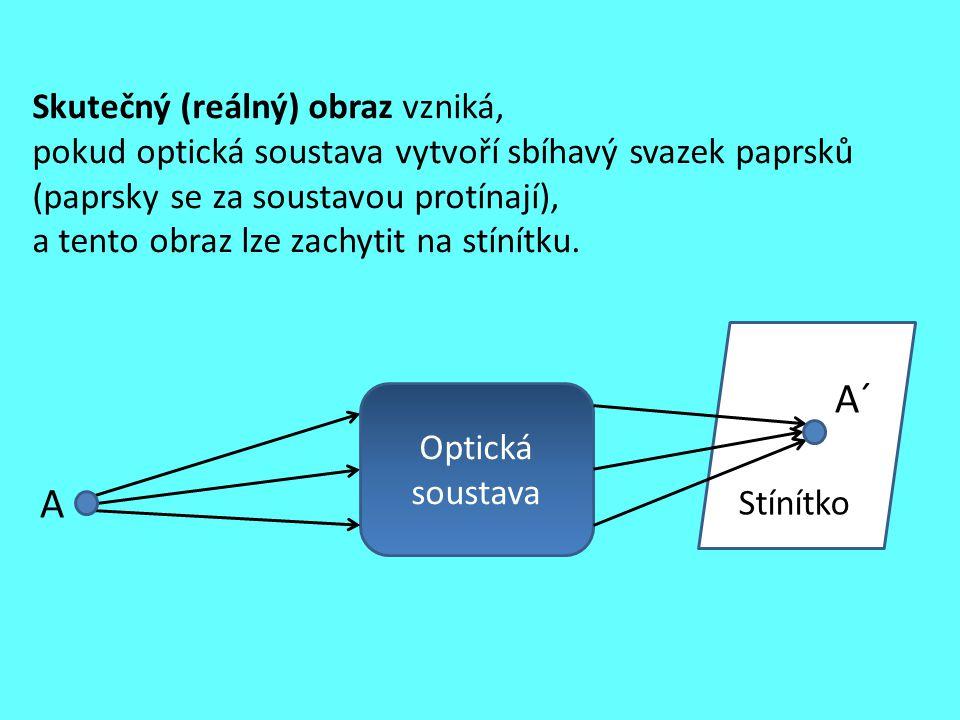 Stínítko Skutečný (reálný) obraz vzniká, pokud optická soustava vytvoří sbíhavý svazek paprsků (paprsky se za soustavou protínají), a tento obraz lze