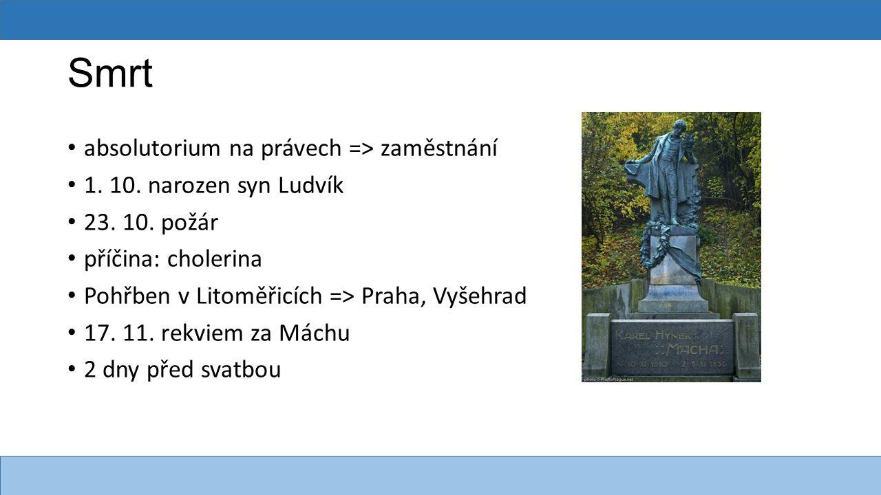 Smrt absolutorium na právech => zaměstnání 1. 10. narozen syn Ludvík 23. 10. požár příčina: cholerina Pohřben v Litoměřicích => Praha, Vyšehrad 17. 11