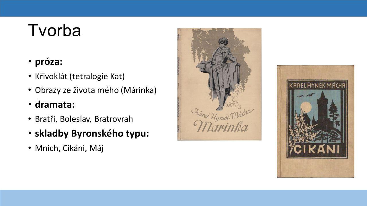 Máj vrcholné dílo českého literárního romantismu báseň poslední Máchovo dílo Mácha = Vilém základy moderního českého jazyka inspirován skutečnou událostí 4 zpěvy a 2 intermezza účel: oslava jarní přírody