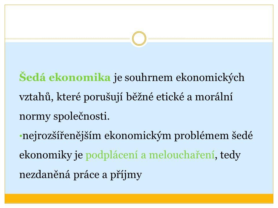 Šedá ekonomika je souhrnem ekonomických vztahů, které porušují běžné etické a morální normy společnosti.