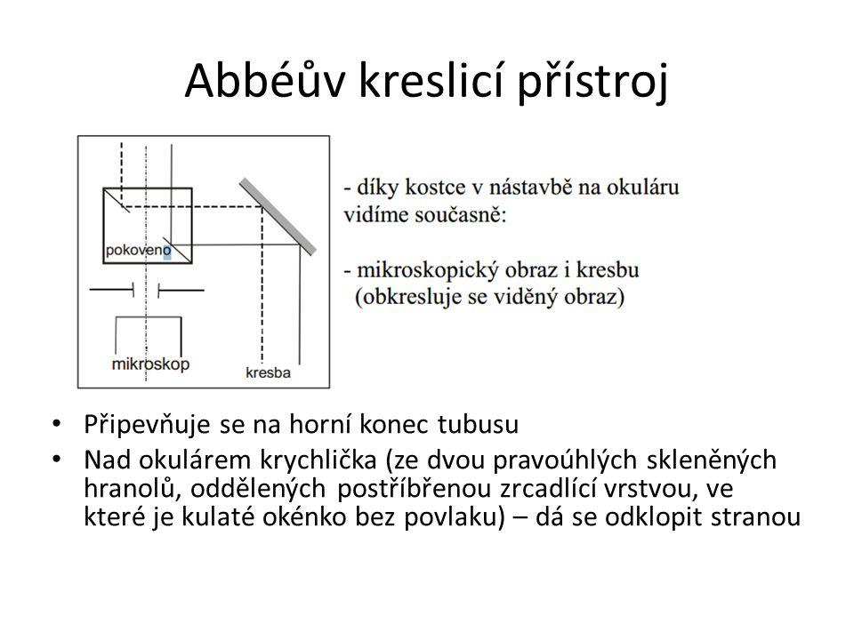 Abbéův kreslicí přístroj Připevňuje se na horní konec tubusu Nad okulárem krychlička (ze dvou pravoúhlých skleněných hranolů, oddělených postříbřenou