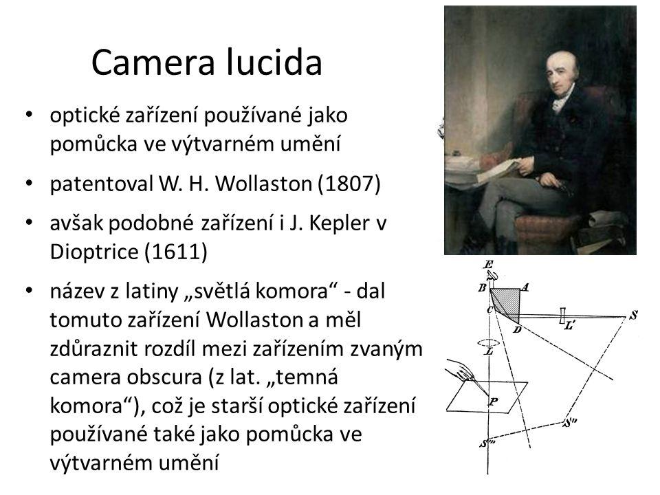 Camera lucida optické zařízení používané jako pomůcka ve výtvarném umění patentoval W. H. Wollaston (1807) avšak podobné zařízení i J. Kepler v Dioptr
